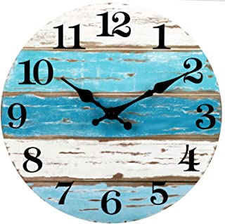 Wooden Wall Clock Silent Non-Ticking , Battery Operated, Vintage Round Rustic Coastal Wall Clocks Decorative for Home Kitchen Living Room Office(10 Inch)