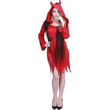EraSpooky Disfraz de Diablo Rojo Adulto Traje de Gala Robe Cosplay ...