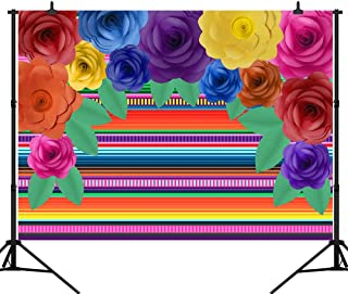 CapiSco 5X3FT Mexican Fiesta Theme Backdrop Colorful Paper Flowers Photography Background for Baby Child Adult Carnival Festival Birthday Party Decor Banner Photography Studio Backdrop SCO119A