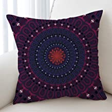 Sleepwish Mandala Pillow Cover Love Stretches Purple Bohemian Bedding Pillowcover Case Protector Boho Decorative Throw Pillows 18x18 Inches (3)
