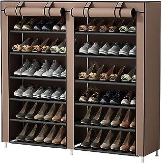 UDEAR Armoire/Meuble à Chaussures avec Housse en Toile 7 Couches étagère Chaussures avec Zip Marron