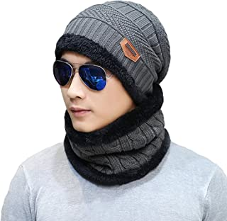 Sungpunet Men's Winter Beanie Hat Scarf Set Warm Knitted Skull Cap with Scarf for Men and Women
