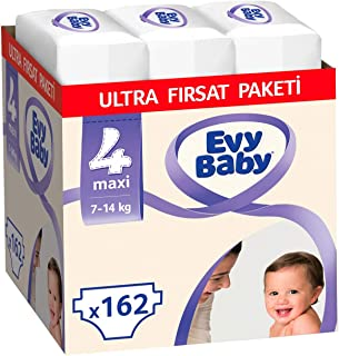 Evy Baby Bebek Bezi 4 Beden Maxi Ultra Fırsat Paketi, 162 Adet