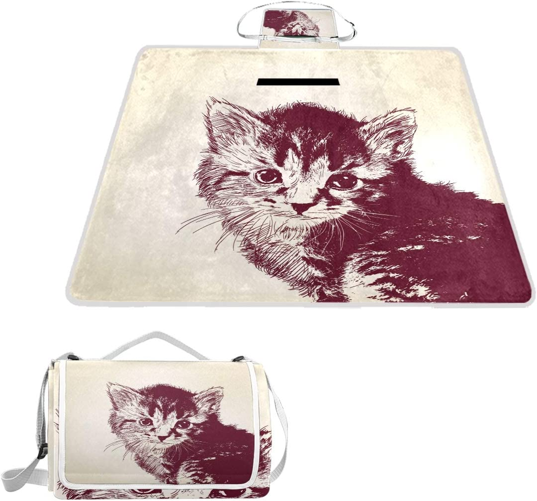 MAPOLO Cat Picnic Blanket Foldable Limited time trial price Outdoor Pi Elegant Waterproof