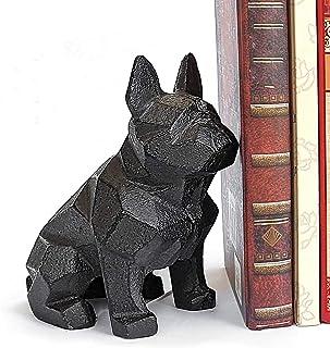 Ambipolar Decorative Dog Theme Geometric Bookend, Heavy Duty Cast Iron, Dog Statue, Vintage Shelf Decor, Antique Black (1 ...