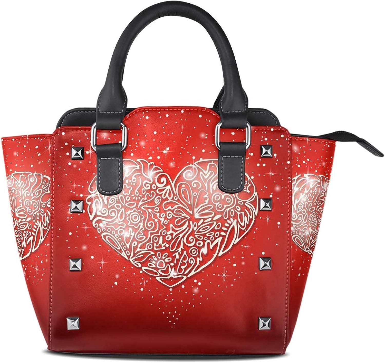 My Little Nest Women's Top Handle Satchel Handbag Valentine Heart Red Ladies PU Leather Shoulder Bag Crossbody Bag