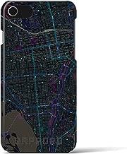 【札幌】地図柄iPhoneケース(バックカバータイプ・ブラック)iPhone 8 / 7 / 6s / 6 用 <全国300以上の品揃え> シンプル おしゃれ 大人 個性的 耐衝撃素材のiPhoneカバー(アイフォンケース アイフォンカバー スマホケース スマホカバー)