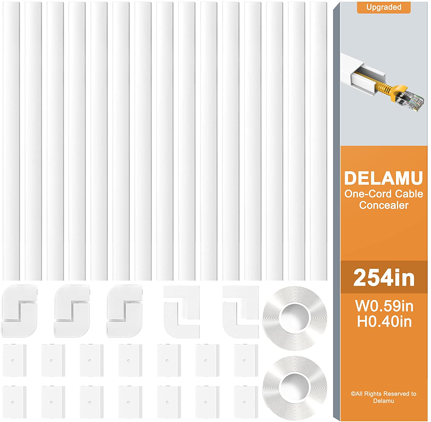 Cord Cover, Delamu 254in Cable Concealer, PVC Cord Hider on Wall, One-Cord Cable Raceway Cable Hider, Paintable Wire Hiders Cable Cover for Wall Mounted TV, 15x L16.9in W0.59in H0.4in, CC03-15Pack
