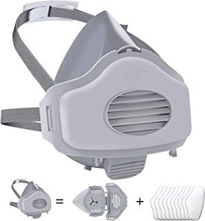 Half Respirator,Dust Half Respirator with Replaceable and Reusable Filters Included, Pack of 1 with 10 Filters for Paintin...