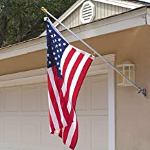 Voilamart Tangle Free Spinning Flag Pole with US Flag 6.5 FT Aluminum Adjustable Wall Mount Flagpole for Commercial Residential Indoor Outdoor Use
