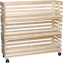 Inter Link Skrzynia do układania w stos, z litego drewna, możliwość układania w stos, z rolkami, kolor naturalny