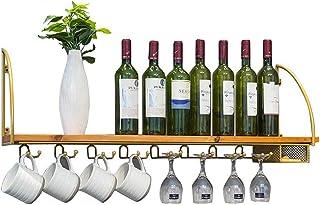 Wine Racks Wall Mounted Shelf Kitchen Wood Wine Bottle Storage Holder Wall Wine Glass Goblet Shelves