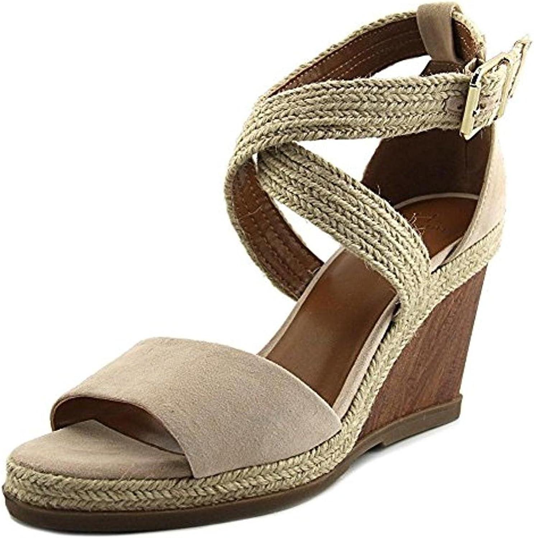 H Halston Womens Jane Suede Espadrille Wedge Sandals Beige 10 Medium (B,M)