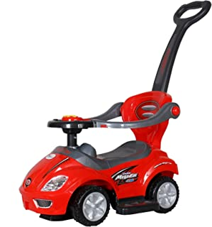 Toyhouse 3 in 1 Deluxe Mega Push Car Ride on with Push Handle, Red