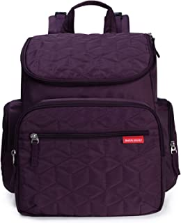 Bebamour Nappy Changing Bag Backpack Nylon Waterproof Nappy Backpack with Changing Mat (Purple)