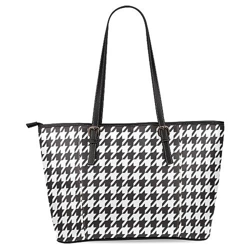 ffcbf0aea15 InterestPrint Houndstooth Women s Leather Tote Shoulder Bags Handbags
