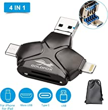 GOLDFOX SD/TF/Micro SD Card Reader for iPhone Andriod Mac Computer, 4-in-1 Memory Card Reader Adapter Trail Game Camera Viewer for iPhone iPad Smartphones with 4 Interfaces USB C/Micro USB/USB Ports