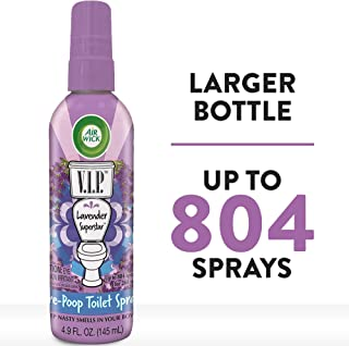 Air Wick V.I.P. Pre-Poop Toilet Spray, Up to 268 uses, Contains Essential Oils, Lavender Superstar Scent, 4.9 oz.