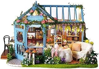 XYZMDJ dockhus i trä, tehus stuga handgjord arkitektonisk modell byggnad av trä villa miniatyrkit innovativ present för barn