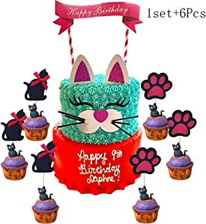 1 Set Handmade Kitty Cake Topper Decoration And 6Pcs Kitty Cupcake Toppers, Baby Shower Cake Decoration And Birthday Party Picks