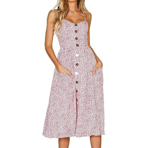 dbda90ad2d Miss Floral Women's Bardot Button Through A-Line Midi Strappy Dress 23  Style Size 6