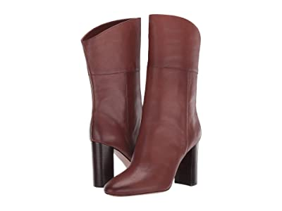 J.Crew Leather Mid-Calf Stacked Anya Boot (Burnished Brown) Women