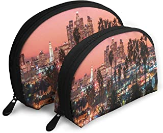 Shell Shape Makeup Bag Set Portable Purse Travel Cosmetic Pouch,Vibrant Sunset Twilight Scenery Los Angeles Famous Downtown With Palm Trees,Women Toiletry Clutch
