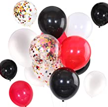 Tatuo 90 Pieces 12 Inch White Black Red Balloons Black Red Confetti Balloons for Birthday Wedding Holiday Party Supplies (White Black Red)