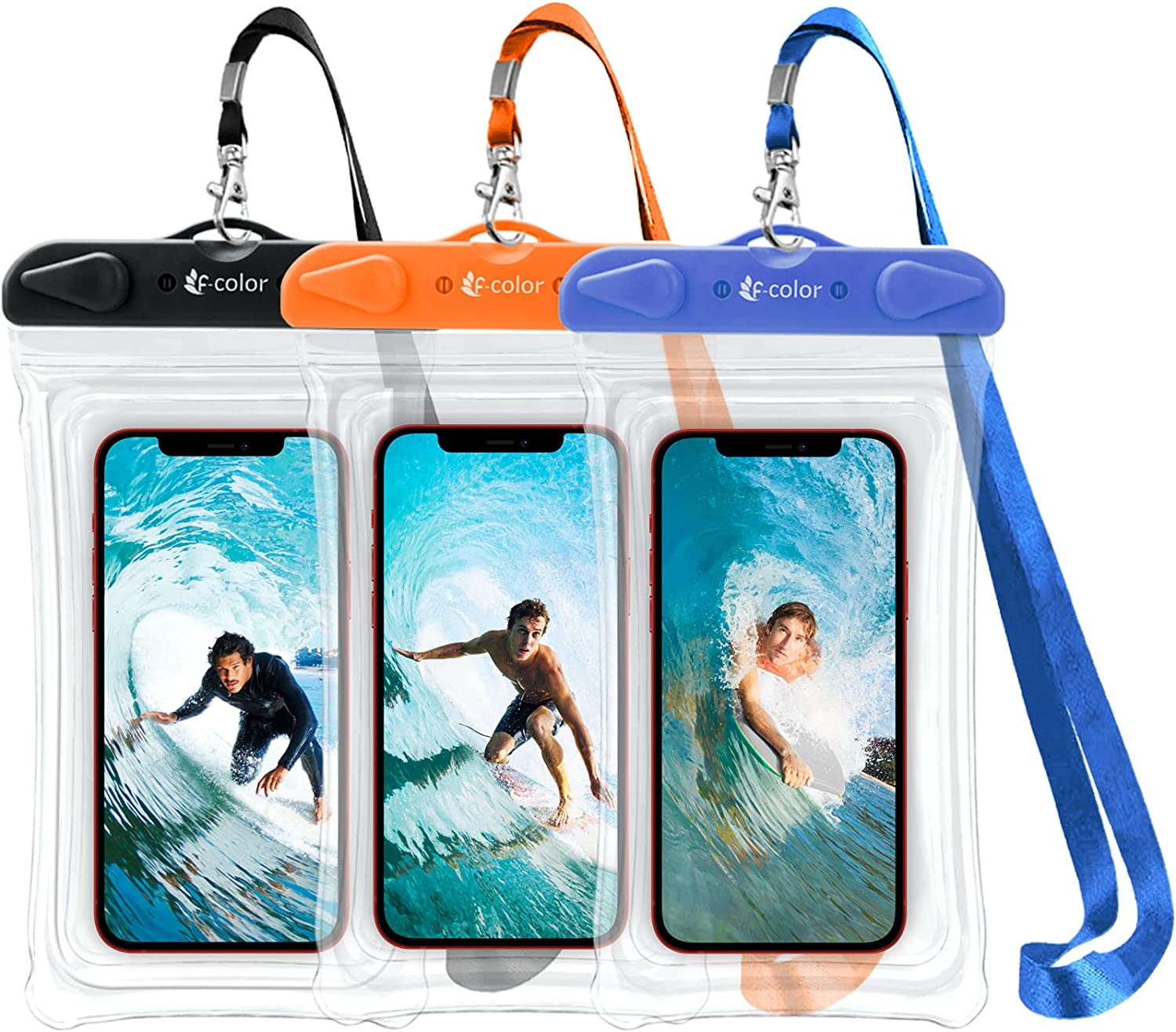 F-color Waterproof Phone Case, 3 Pack Transparent PVC Waterproof Phone Pouch Dry Bag, Beach Accessories for Swimming, Boating, Fishing, Skiing, Rafting, Compatible for iPhone 12 Pro Max and More