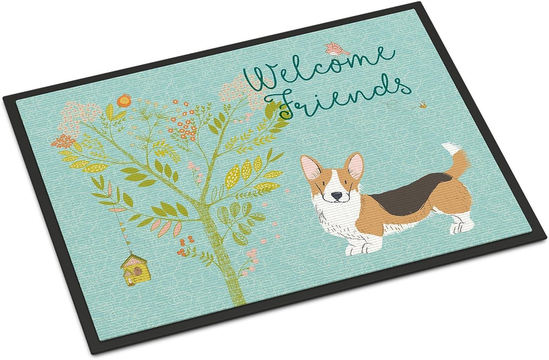 Caroline's Treasures Friends Welsh Welcome Pembroke Corgi Tricolor Doormat, 18hx27w, Multicolor