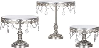 Amalfi Decor Cake Stand Set of 3 Pack, Dessert Cupcake Pastry Candy Display Plate for Wedding Event Birthday Party, Round Metal Pedestal Holder with Crystals, Silver