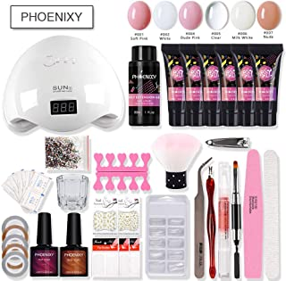 PHOENIXY Poly Quick Gel Nail Kit 6 Colors bulider Gel Polish Set 48W Nail Lamp Dryer Nail Extension Pen Brush Nail Tips with Slip Solution Gold Coil NAK6032-1