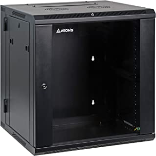 AEONS 12U Professional Wall Mount Server Cabinet Enclosure Double Section Hinged Swing Out 19-Inch Server Network Rack Loc...