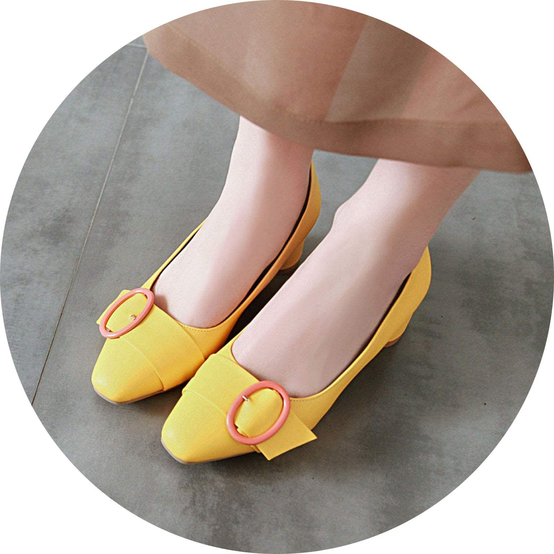 FINDYOU Block Heel Slip On Womens Pumps Square Toe Spring Ladies Office Dress shoes