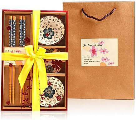 Preisvergleich für 2017 Saflyse 2 Personen japanische Style Sushi Servier Set für zwei Personen keine braune Platzmatten (6 teilig )(Farbe Random)