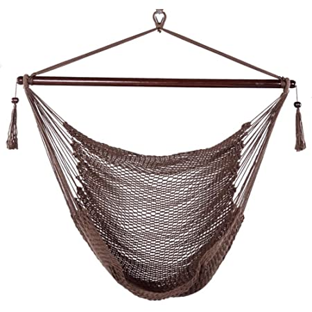 Blissun Hanging Hammock Chair, Swing Chair, 40-inch Wide Seat, Polyester Cotton (Mocha)