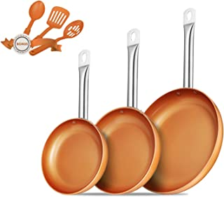 Frying Pan Set Copper Cookware set Pan set 6 Piece Copper Fry Pan set
