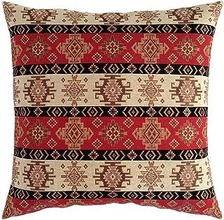 pillowerus Tapestry Kilim Ethnic Pattern Red-Cream 22x22 Pillow Cover Throw/Decorative Square Cushion Case Sham for Home Decor, Sofa, Couch, Porch, Patio, Veranda