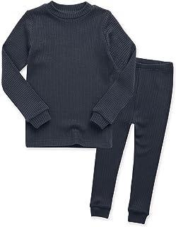 VAENAIT BABY 12M-8T Unisex Girls & Boys Short/Long Soft Rib Knit Shirring Ribbing Tencel Fabric Sleepwear Pajamas 2pcs Set