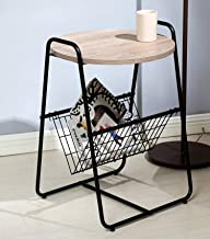 Salafey Round Side Table with Storage,Accent Table,Basket End Table for Bedroom Living Room Black