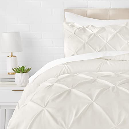 Amazon Basics Ensemble d'édredon à plis pincés, 220 x 250 cm, Blanc crème