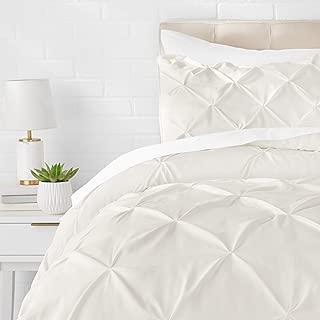 AmazonBasics Pinch Pleat Comforter Bedding Set, Twin, Cream