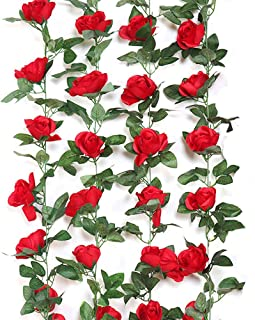 Pulch Ritudinous 4PCS Artificial Rose Vines Fake Silk Flowers Rose Garlands Hanging Rose Ivy Plants for Wedding Home Office Arch Arrangement Decoration (Red) …