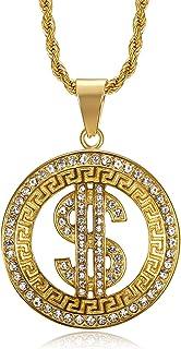 قلادة لي آيلاند أنيقة مطلية بالذهب 24 قيراط الماس تشيكوسلوفاكيا بشكل كامل دولار قلادة الفولاذ المقاوم للصدأ للرجال البنين ...