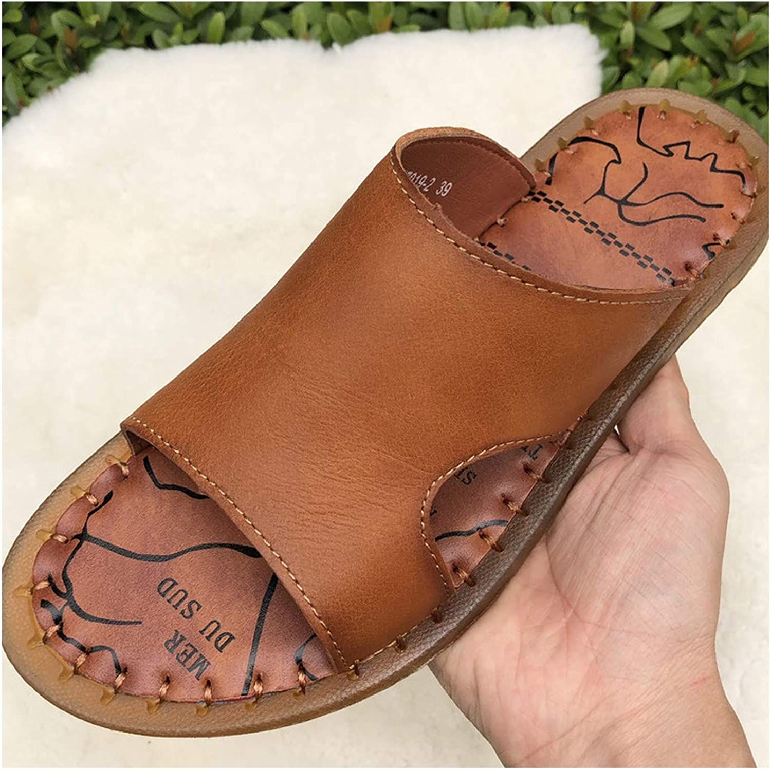 Wood-1 Summer Full Grain Leather shoes Men Casual Simple Outdoor Slippers TPR Outsole Sandals Men,Brown,7