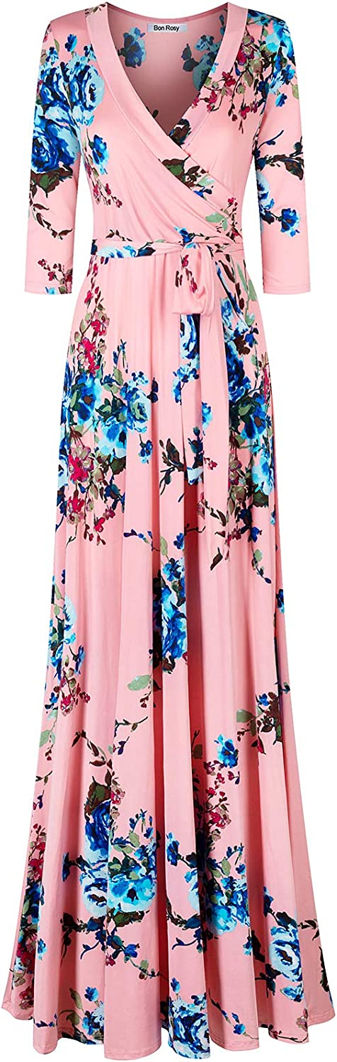 Bon Rosy Women's Silky and Stretchy 3/4 Sleeve Deep V-Neck Floral Printed Maxi Faux Wrap Dress