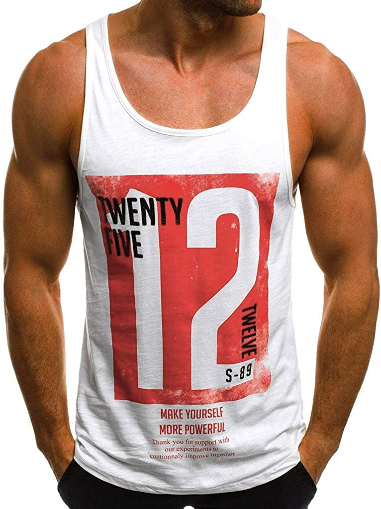 F_Gotal Men's Gym Tank Tops Workout Muscle Tee Graphic Letter Print Training Bodybuilding Stringer Fitness Vest T Shirts