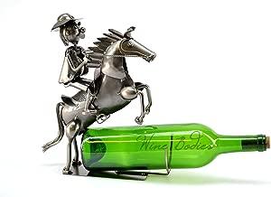 Wine Bodies Sheriff Cowboy Metal Wine Bottle Holder, Charcoal