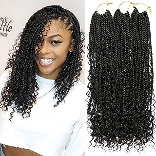 6 Packs 18 Inch Crochet Box Braids Hair with Curly Ends Prelooped Bohemian Goddess Box Braids Crochet Hair Braiding Hair C...