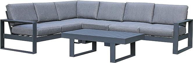 FurnitureOkay Manly 5pc Aluminium Outdoor Lounge Setting Patio Furniture Set